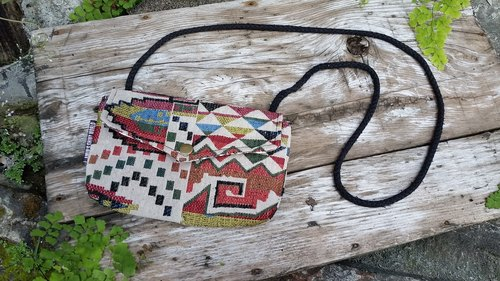 AMIN'S SHINY WORLD handmade custom vintage geometric totem old cloth cover buckle Seagull Bag