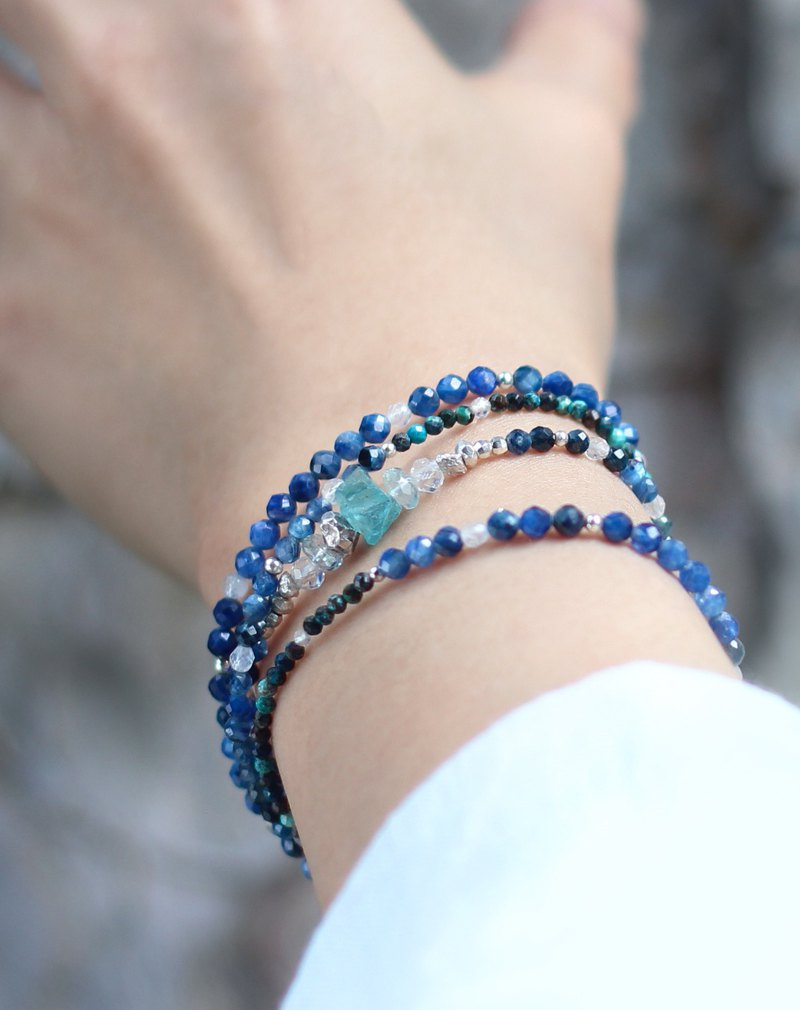 VIP zone. Dark blue meditation. Natural stone four-ring bracelet kyanite phoenix stone blue stone sterling silver