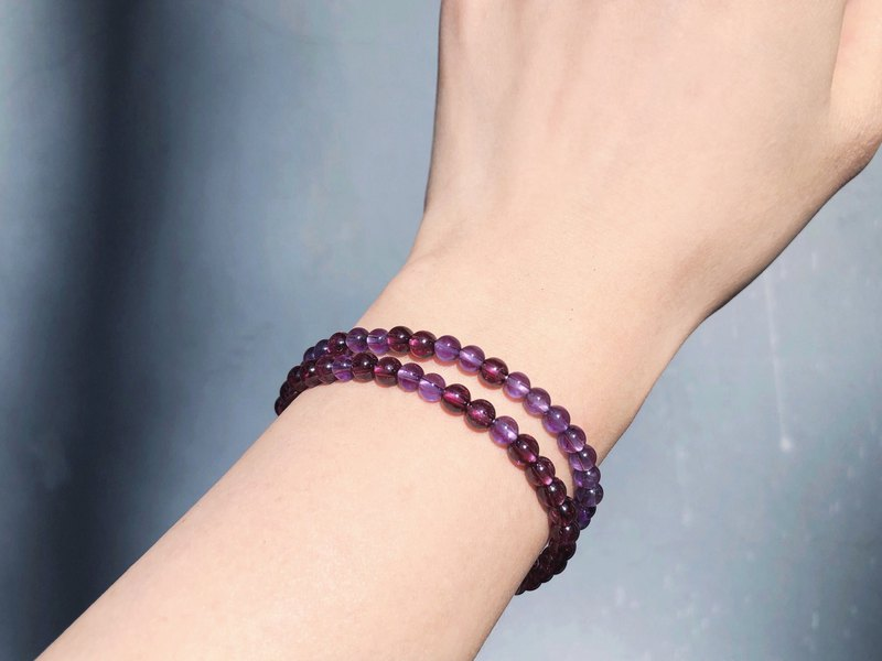 [Limited set] Natural purple tooth garnet x amethyst bracelet