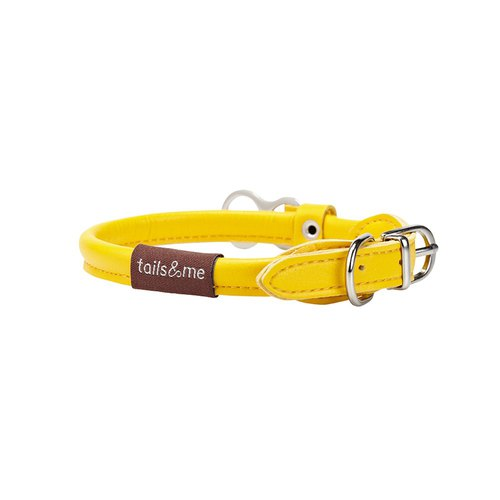 [tail and me] natural concept leather collar bright yellow M