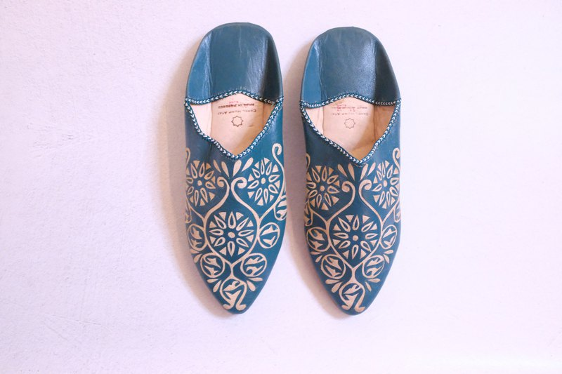 Moroccan leather carved handmade shoes mint mimosa tread shoes indoor shoes