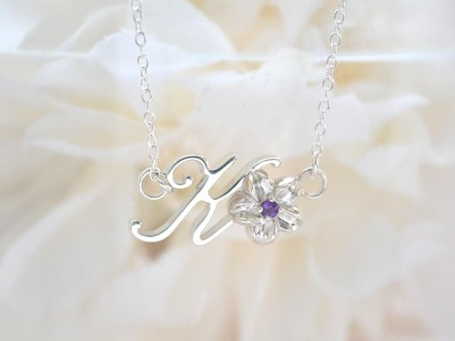 Initial flower necklace K (Amethyst)