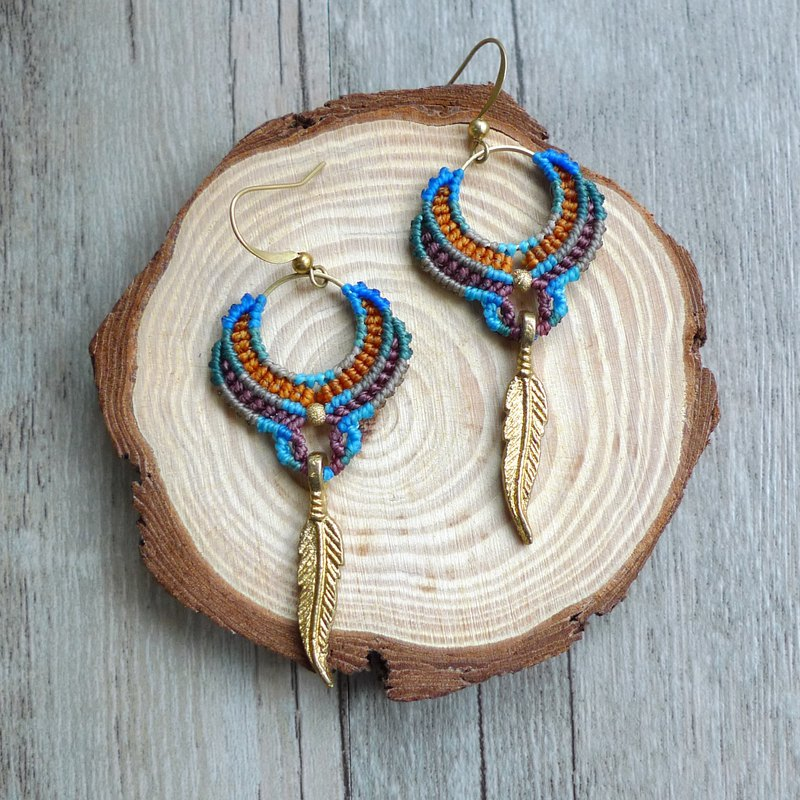 Misssheep-A45-Bohemian national wind South American wax braided brass earrings (reversible ear clip)