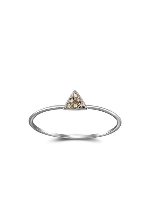 Small Triangle Shape Pave Diamond Ring