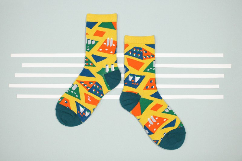 Rooftops Mustard Unisex Crew Socks | colorful fun & comfortable socks