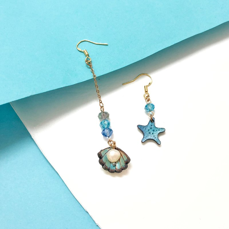 | Leather Gadgets | Fantasy Ocean Series | Pink Blue Starfish Shell Pearl Earrings Ear Clips |