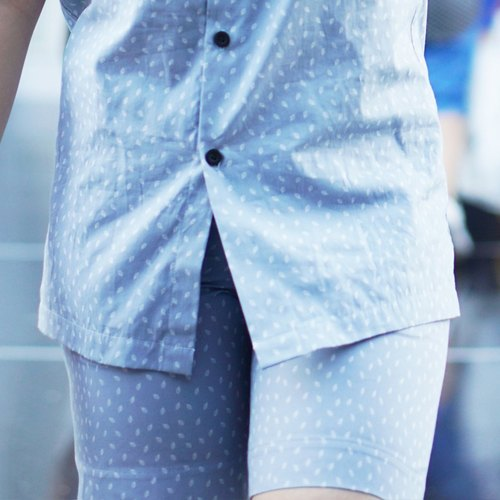 Light blue shorts with leaves pattern