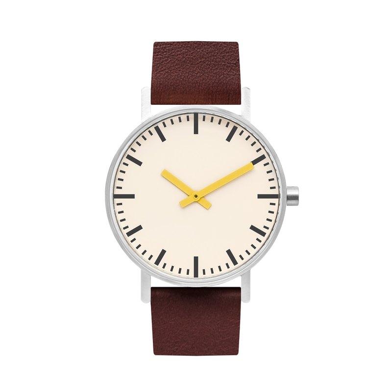 BIJOUONE B50系列手錶黃色指針咖啡色皮表帶簡約防水個性設計男女