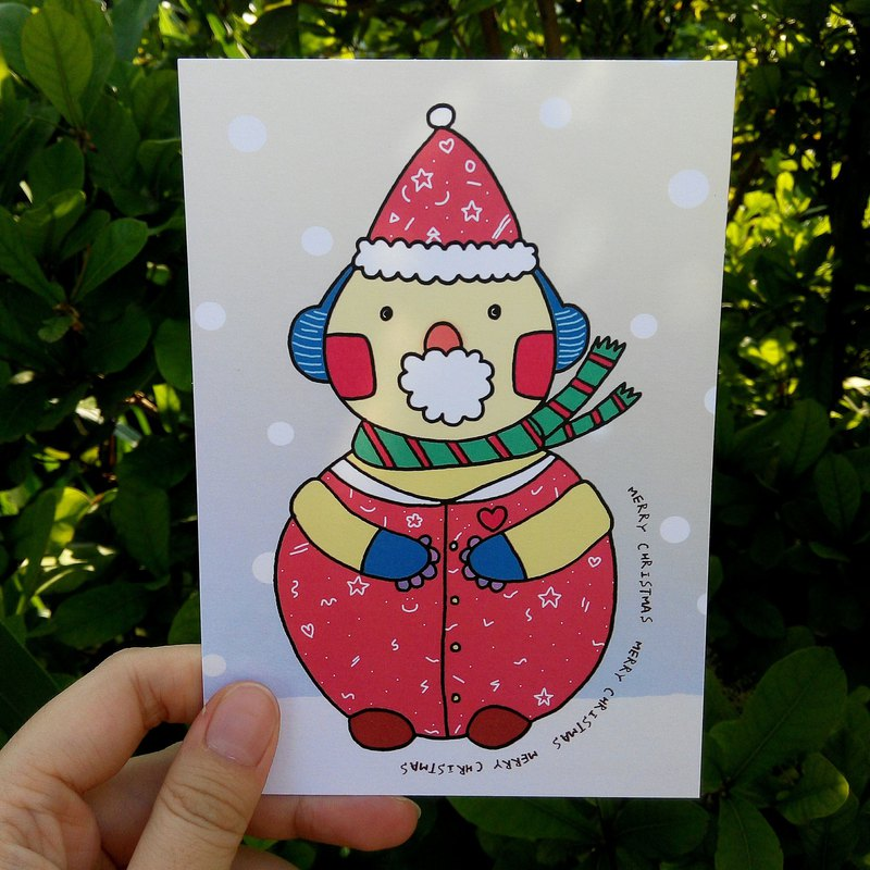 Christmas snowman child postcard