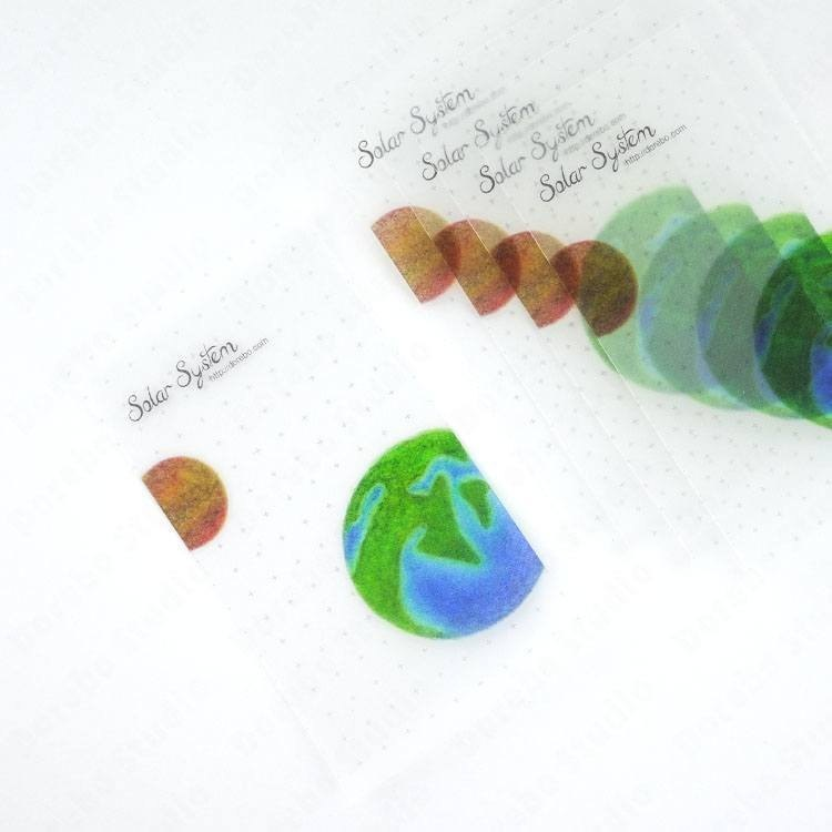 ::Solar System Series:: Semi-permeable Textured Paper Tape Dispensing Plate Earth Planet (2)