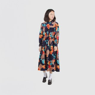 [Egg Plant Vintage] Ocean Flow Applique Print Vintage Dress