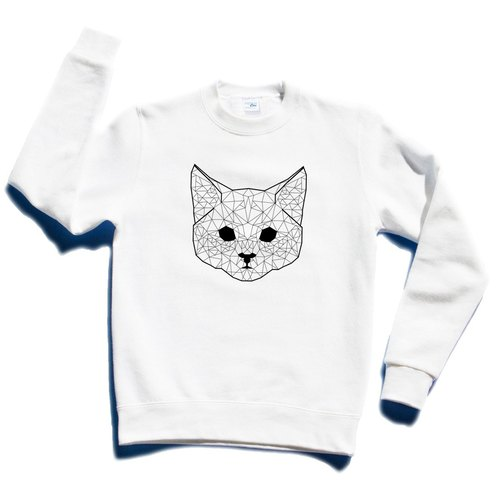 Geometric Cat #2 white sweatshirt