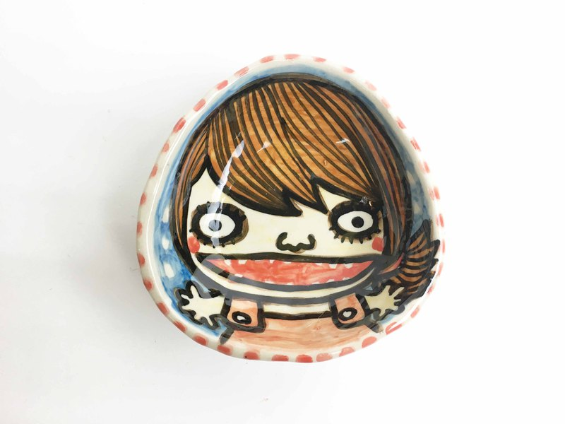 Nice Little Clay hand painted painted plate _ happy girl 0304-09