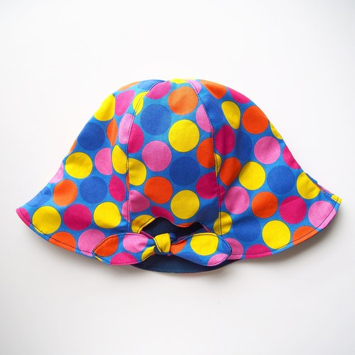 Ponytail Girls - Handmade Hat | Double sided (Colorful Dots x Blue)