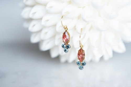 【14 KGF】 Rock Candy / Dark Pink Marble & Aquamarine Satin