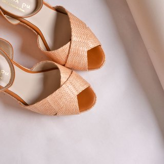 Wedge high-heeled sandals rice knit