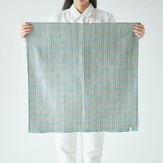 Linen cotton dyed check squared cloth khaki × blue