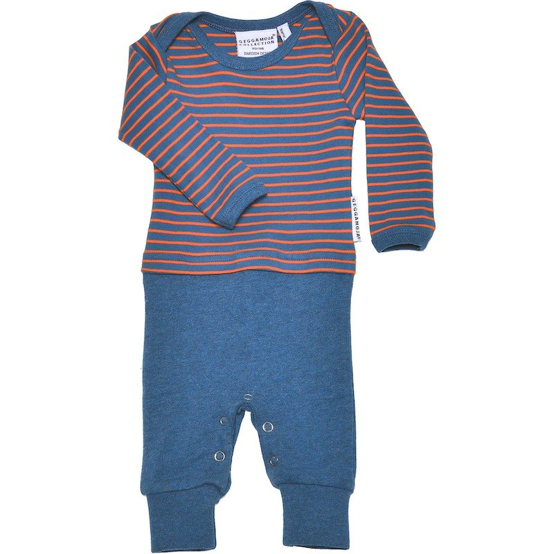 Nordic organic cotton children's clothing one-piece dress / ink blue