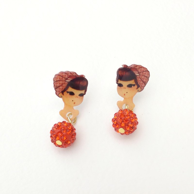 Small Q version vintage scarf girl style cute illustration red / green diamond / pin clip earrings