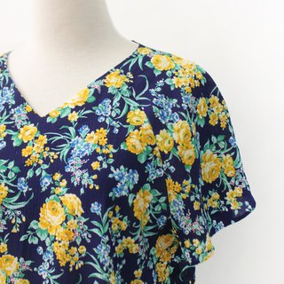 Retro Summer Yellow Flowers V-neck Dark Blue Short Sleeve Vintage Shirt Vintage Blouse