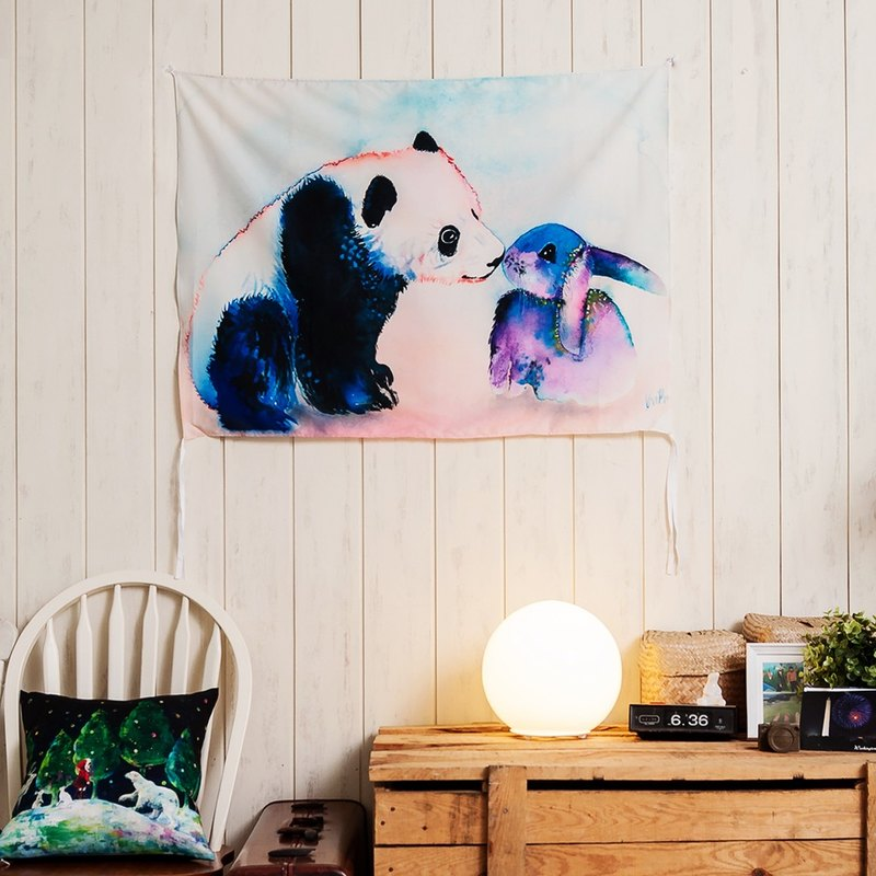 Panda & Bunny Love- Home Decor Home Decor Wall Mural Wall Tapestry Wall Mural Home Decor Craft-Krista Bros