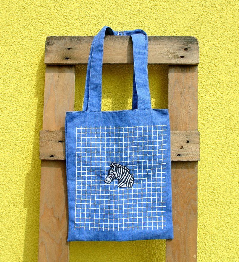 Blue denim tote bag - embroidery zebra or elephants