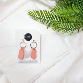 Color block equation - peach powder ear pin / ear clip handmade earrings Korea direct