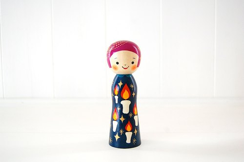 Kokeshi doll / red cheeks girl / design-no.3 /