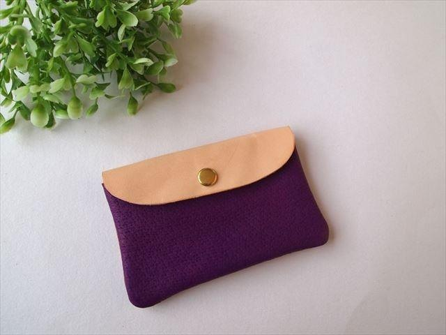 Pig leather soft card case [hand-dyed leather pass case] 1680013