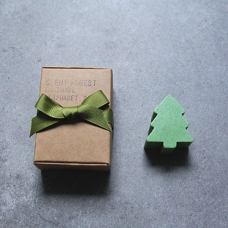 English alphabet handmade soap-1pc gift box set Christmas tree style Christmas limited Christmas packaging