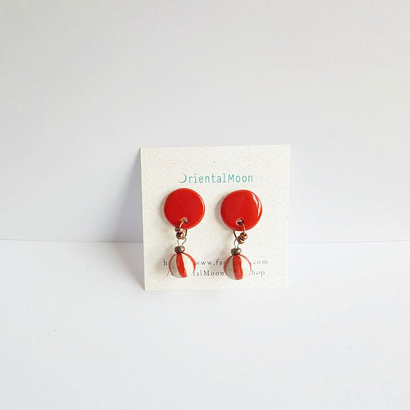 drop ceramic earrings  with painted stripe ball