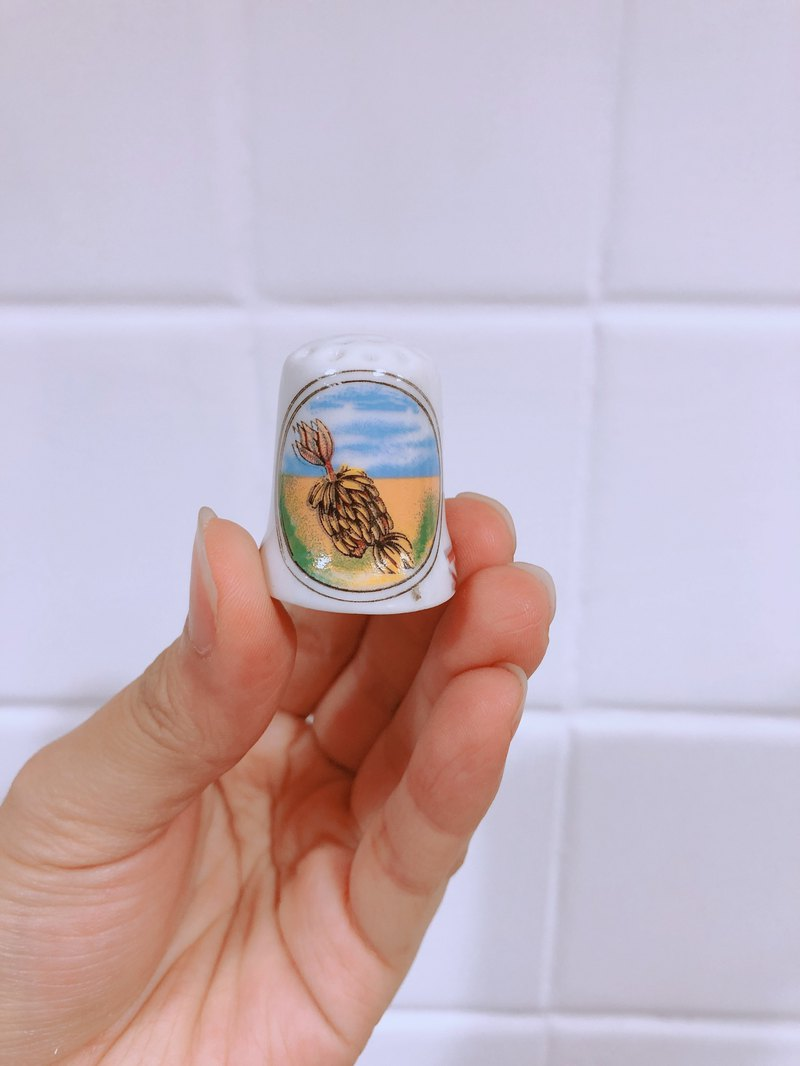 British Antique Porcelain Thimble Landscape Series C