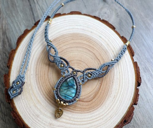 Misssheep-N43 Bohemian folk style double color South American wax braided brass Labradorite necklace clavicle chain