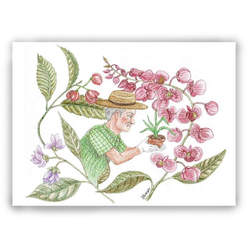 Hand-painted illustration universal card / card / postcard / illustration card - flower painted flower gardener flower garden