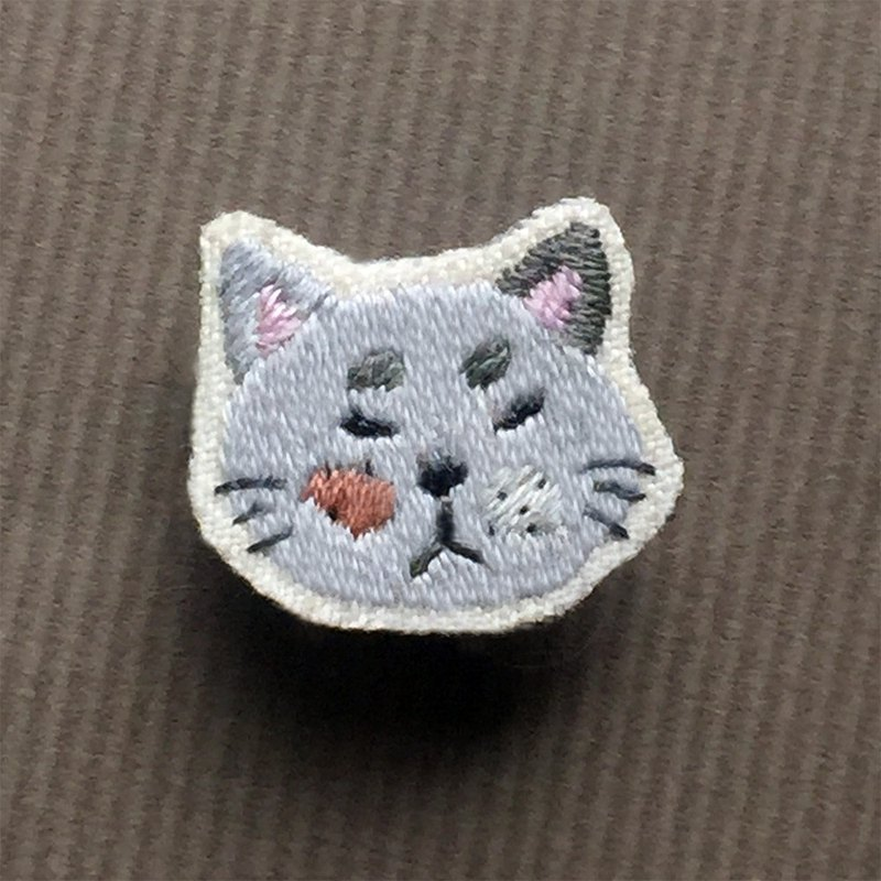 Mini Hand Embroidered Brooch / Pin A Cat No. 2