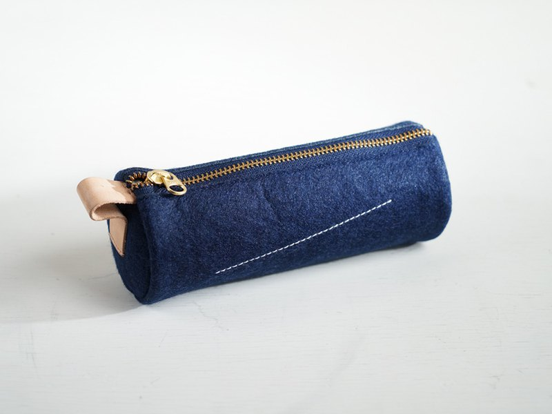 Leyang·Leyan- Effortless Chic Round Pencil Case/Stationery Storage Bag - Meteorite Blue