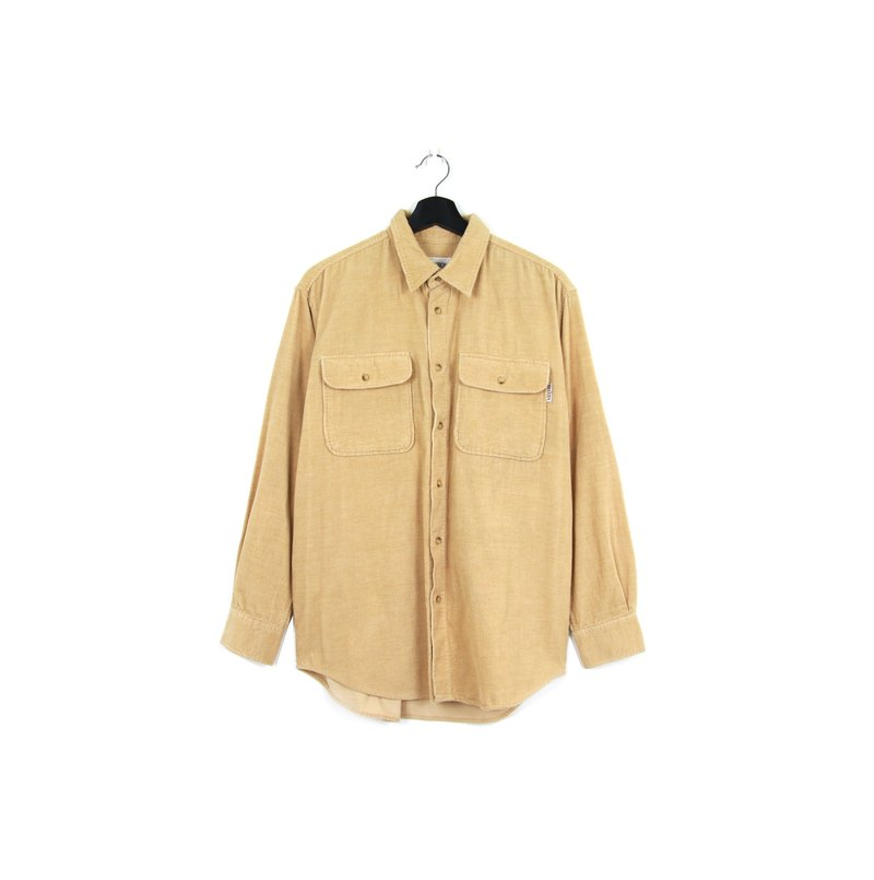 Back to Green :: corduroy cream caramel shirt // both men and women wear // vintage (SH-11)