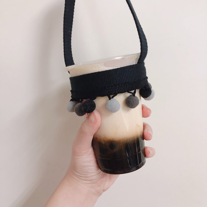 Pearl hair ball black ribbon drink bag
