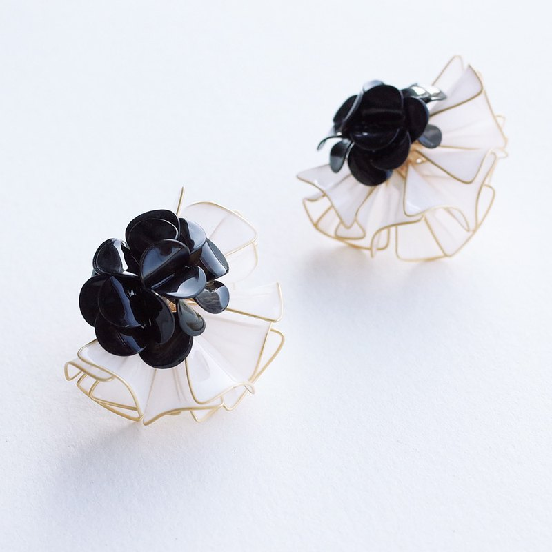 Big Princess Flower Collar Earrings - Black and White. Resin Crystal Flower Earrings / Ear Clips