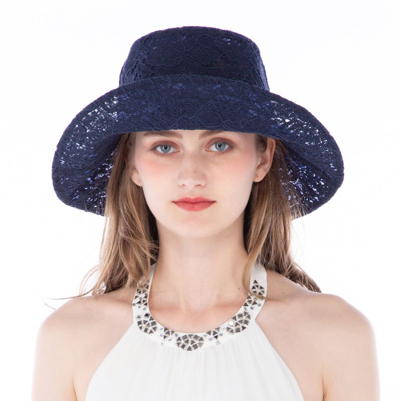 ATIPA Madame Lace Petit (Navy) Wide brim hat  (Sun UV Protection)