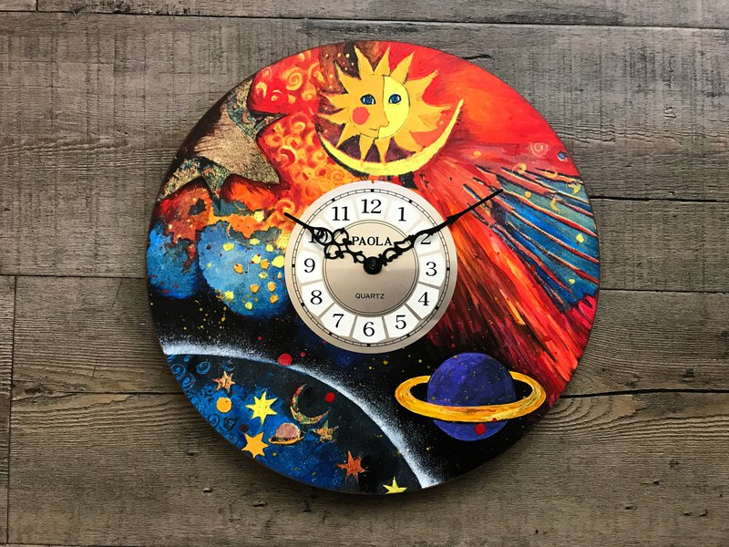 POPO│ Star Moon Sun _ Universe │ Hand-painted Collage │ Manual Clock