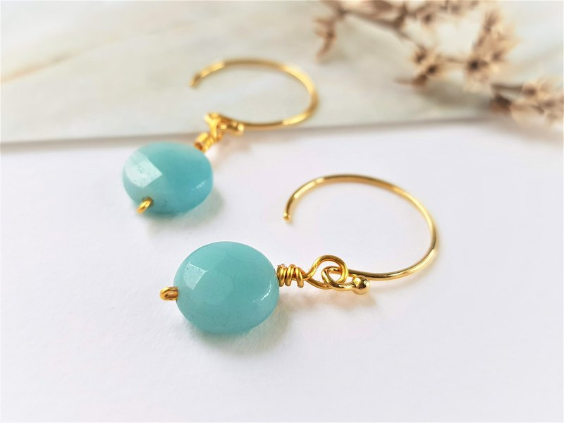 Big woman's mint candy earrings / natural stone / gold and silver 2 colors can be customized