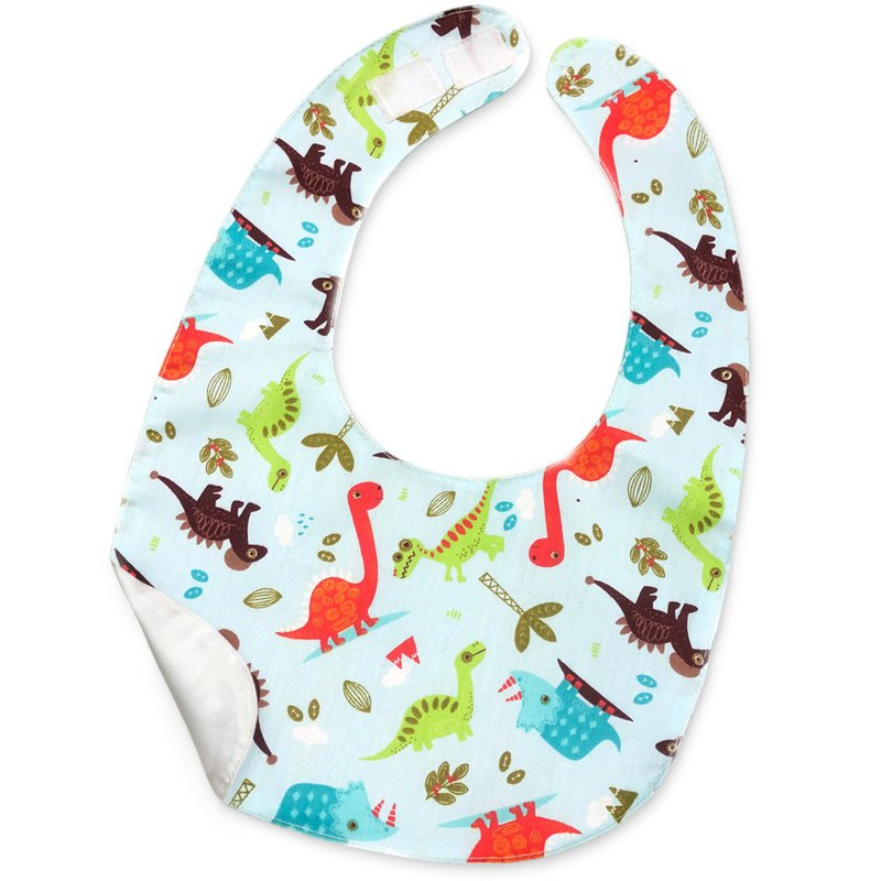 Waterproof bib saliva towel print cotton light blue sky blue dinosaur