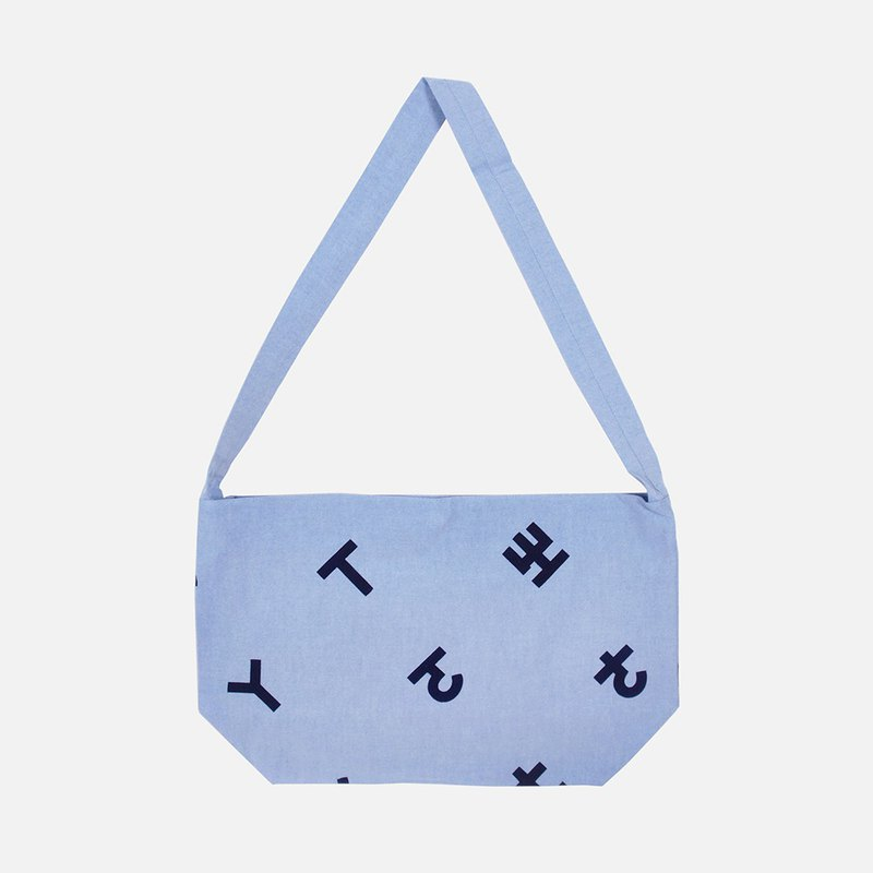 Phonetic symbol 绢 printed canvas side backpack - light blue