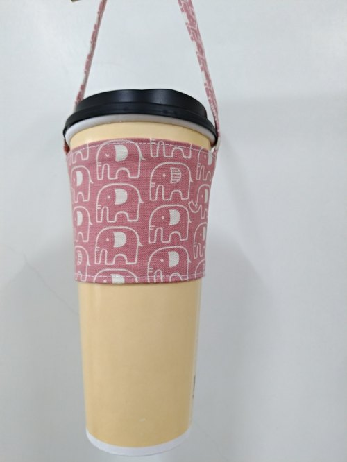 Drink Cup Set Eco Cup Set Hand Drink Bag Coffee Bag Tote Bag - Elephant (Pink)