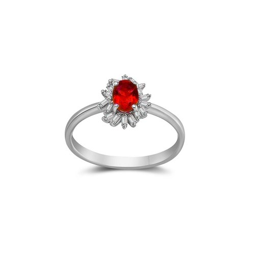 Ruby Ring Surrounded by Irregular Shape Diamond