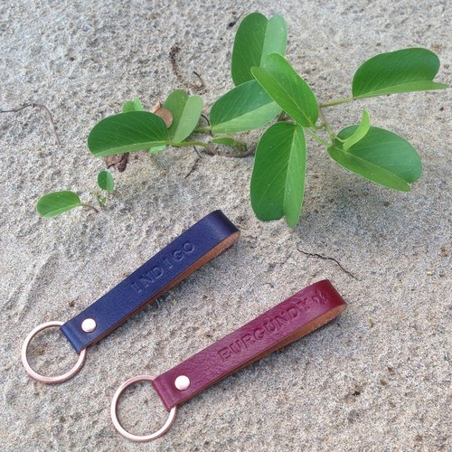 COPPER leather key ring 【2】 a group of blue wine red wine