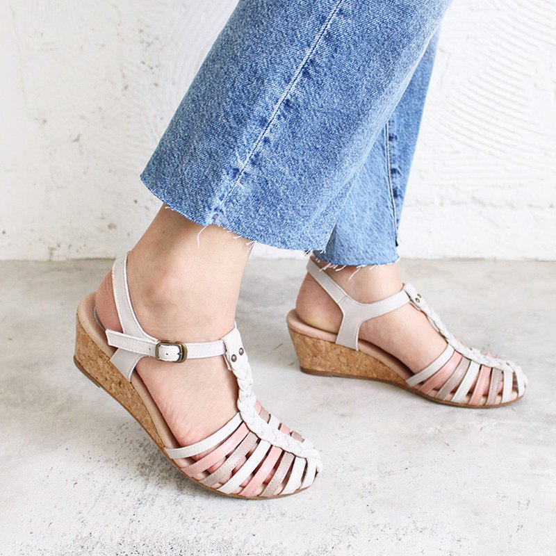 Leather hand-woven wedge sandals / light gray / S2-18513L