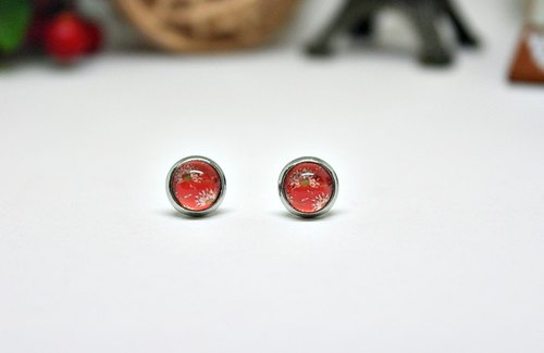 Time gemstone earrings * red X stainless steel needle Happiness Garden * # cute #