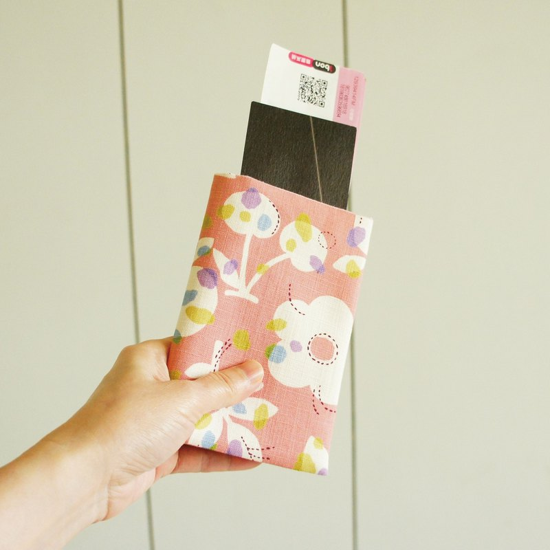 Lovely [cherry flower passport cover] cloth book cover 9.5X14cm pink